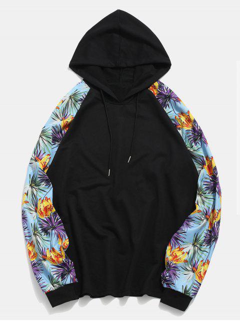 women Floral Print Raglan Sleeves Patchwork Hoodie - BLACK XL Mobile