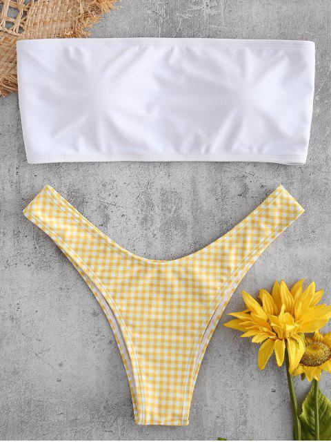 Plaid Bandeau Cheeky Bikini Set - Amarillo Brillante S Mobile