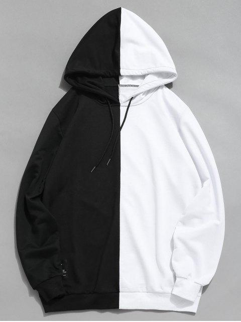shops Contrast Patchwork Casual Hoodie - WHITE M Mobile