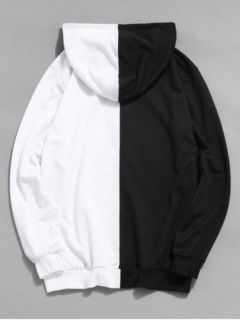 latest Contrast Patchwork Casual Hoodie - WHITE 2XL Mobile