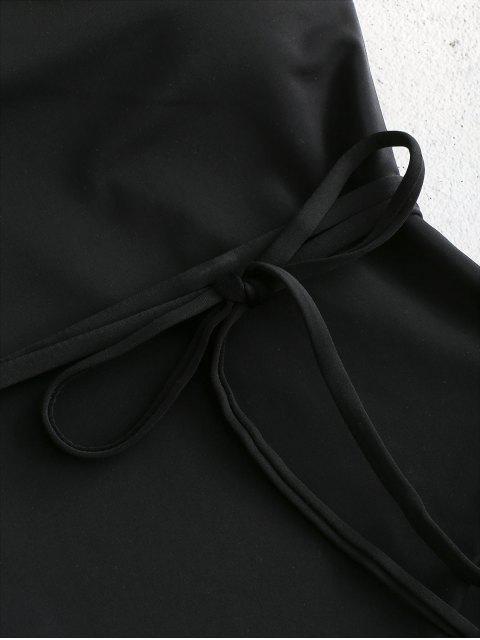 shop Belted One Shoulder One-piece Swimsuit - BLACK L Mobile