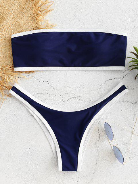 unique Contrast Trim Bandeau Bikini Set - CADETBLUE M Mobile