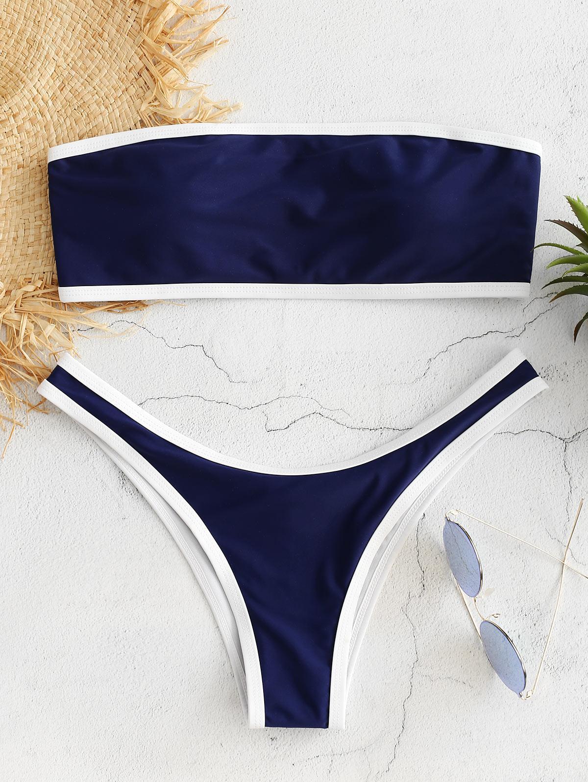 Contrast Trim Bandeau Bikini Set