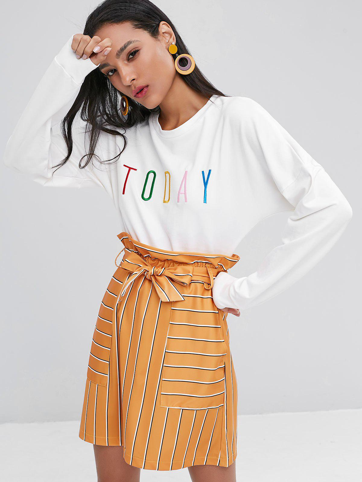 Letter Graphic Embroidered Crop Sweatshirt, White