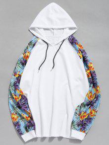 طباعة الأزهار راجلان الأكمام المرقعة هوديي - أبيض M