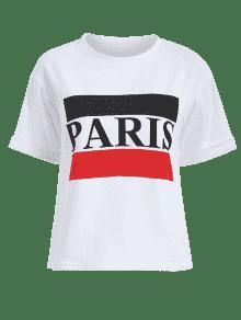 Manga Con Camiseta M Enrollada Blanco Paris P5qdOxwq