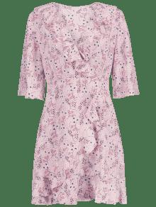 Se Vestido S Floral Cerdo Superponen Rosa Volantes 4wBqvPCq