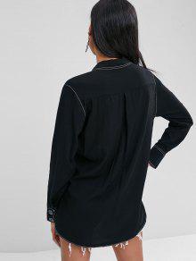 Xs Pespuntes Solapa Con Con Negro Contraste Con Bolsillos En Camisa 0vwzx5qSw