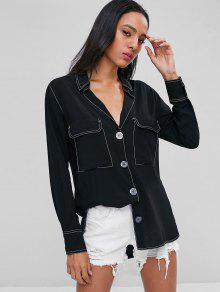 جيوب بطية تباين توبستيتشينج القميص - أسود L