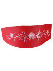 الترتر الزهور الديكور حزام عريض الخصر - أحمر