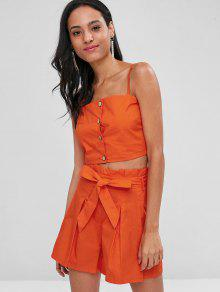 e34587caed2a 24% OFF] 2019 Buttoned Crop Top And Shorts Co Ord Set In ORANGE | ZAFUL