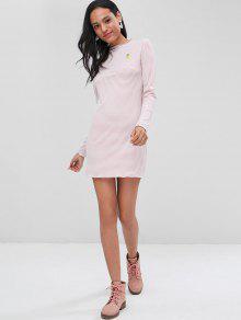 S Mini Vestido Rosa a Pi Parche De De Rayas Rosada z7zTP
