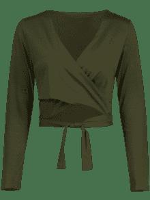 Falsa Verde Con Manga Recortada S De Camiseta Efecto Larga Ejercito wxaYSnFq