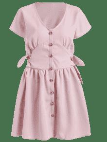 Claro Anudado Botones Con Vestido Rosa Mini M xXgqp6X