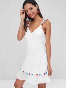 S Pom 243;n Vestido Blanco Mini Pom Pomp Cami qpwfzS0x