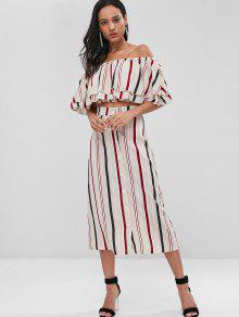 ae1a668d8600 25% OFF] 2019 Striped Crop Top And Midi Skirt Co Ord Set In MULTI ...