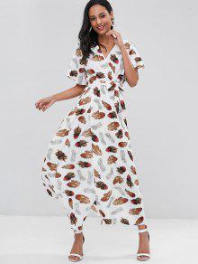 ce26f98435 29% OFF] 2019 Feather Print Crossover Maxi Beach Dress In WHITE | ZAFUL