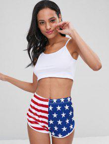 Multicolor Mangas 243;n Bandera Y Corto Pantal De Camiseta Americana L Cami Sin BXq8wWEv
