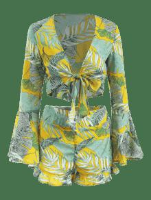 Conjunto Cortos Volantes Palm M Tie Front Leaves Mostaza q1Xga