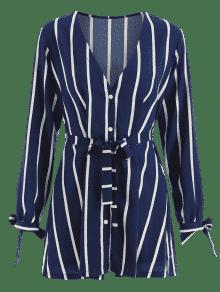A S Profundo Larga Con De Vestido V En Cuello Rayas Azul Manga HZpqxwnBd