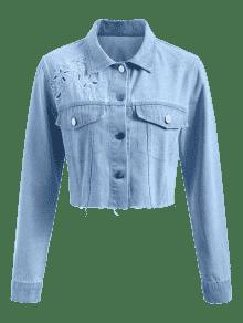 Chaqueta Mezclilla M De Jeans Azul Con De Bordada Botones AAnrqBS