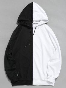 هو خليط عارضة هوديي المرقعة - أبيض L