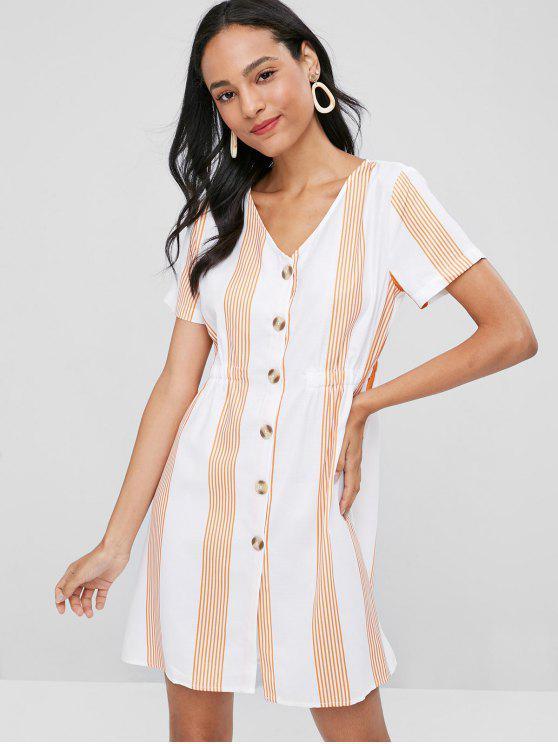 Rayas abotonan un vestido de línea - Blanco L