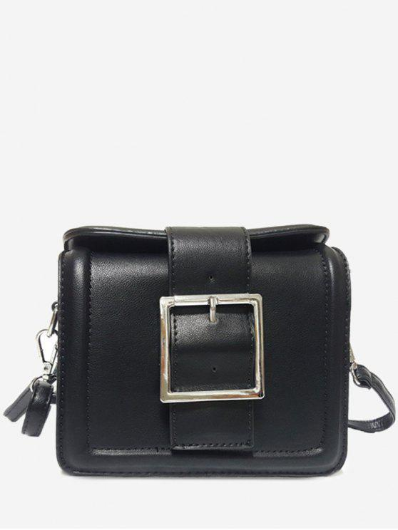 sale Solid Color Buckled Crossbody Bag - BLACK HORIZONTAL