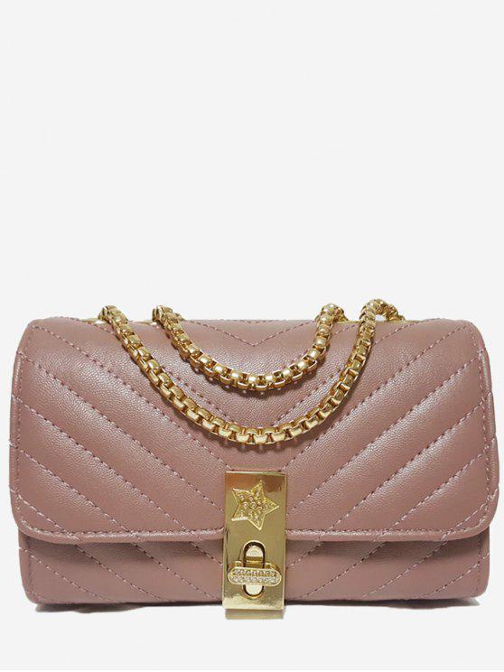 V Shaped Stitching Kette Umhängetasche - Pink Horizontal