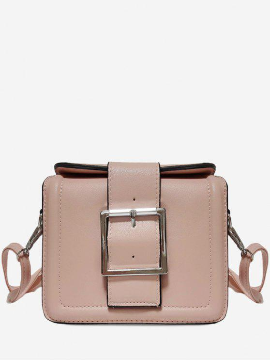 best Solid Color Buckled Crossbody Bag - PINK HORIZONTAL