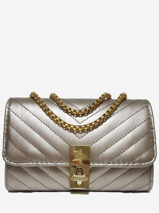 hot V Shaped Stitching Chain Crossbody Bag - CHAMPAGNE GOLD HORIZONTAL