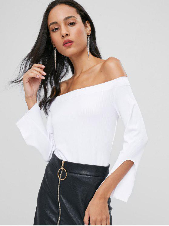 a1eff6192a1a 28% OFF] 2019 Slit Sleeve Off Shoulder Top In WHITE | ZAFUL