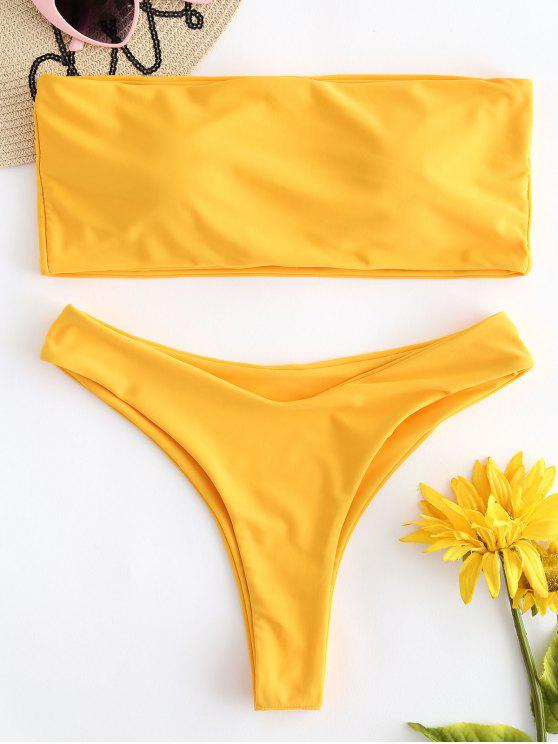 fashion Padded Bandeau Bikini Set - BRIGHT YELLOW S