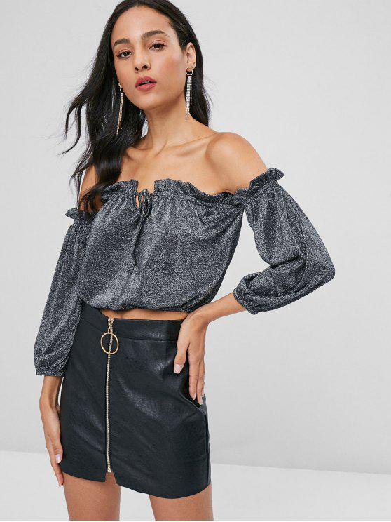 fashion Shiny Off Shoulder Top - SILVER S