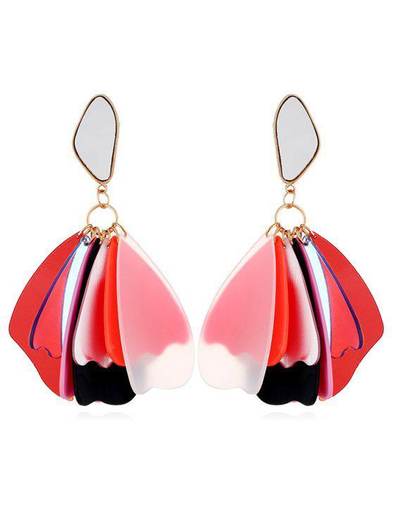 best Elegant Floral Acrylic Drop Earrings - RED
