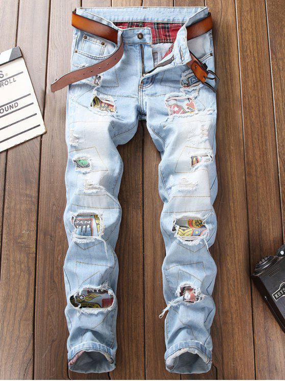 Ripped Hole Splicing Skinny Jeans - Azul Claro 36