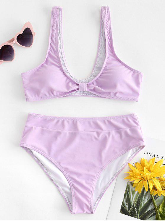 affordable High Cut Plunging Neck Bikini - MAUVE S