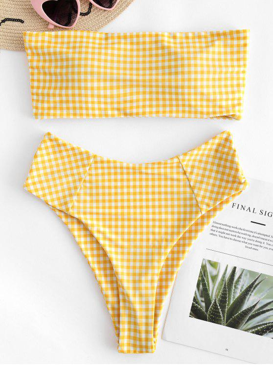 latest Plaid High Cut Bandeau Bikini Set - YELLOW S