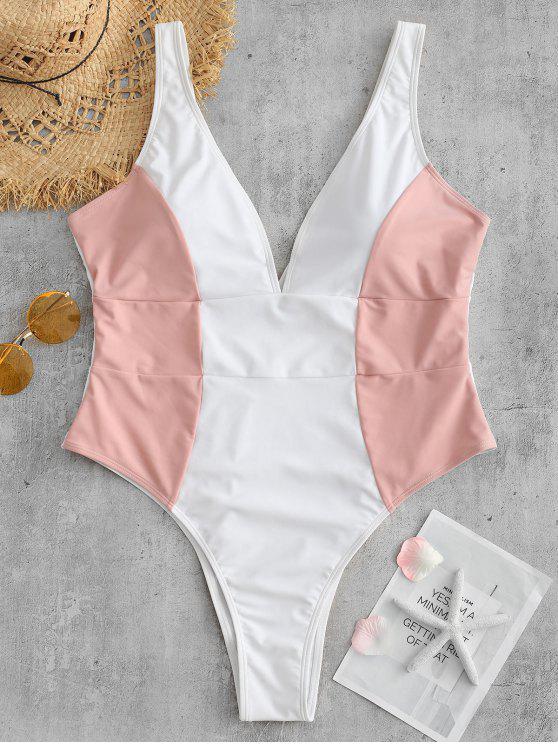Plus Size Mergulhando Color Block Swimsuit - Multi 2X