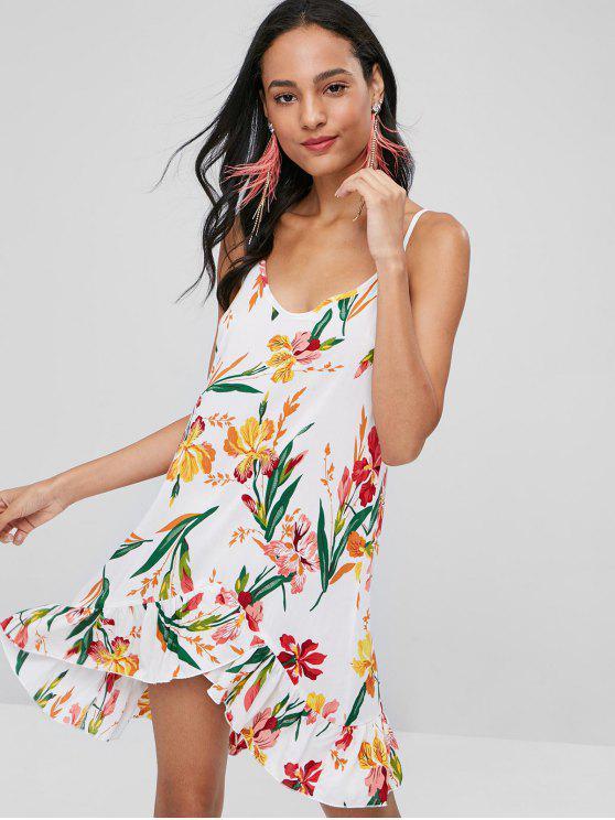 فستان الأزهار الكشكشة البسيطة - أبيض L