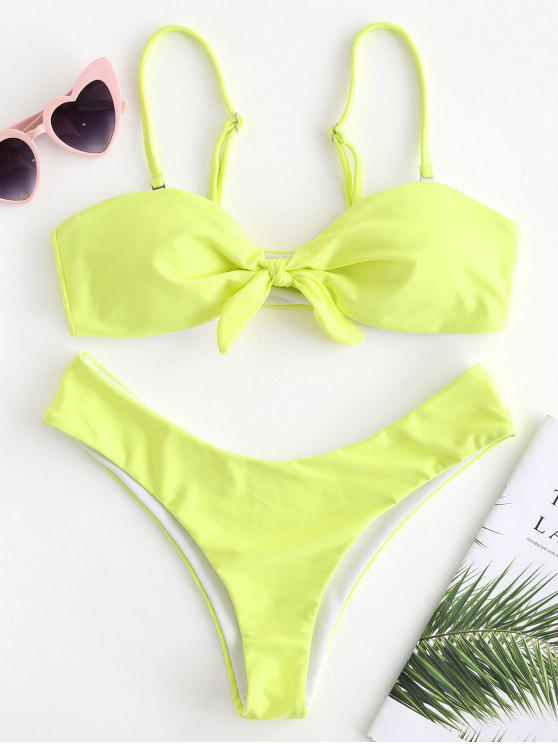 Front Knot High Cut Bikini - الأصفر M