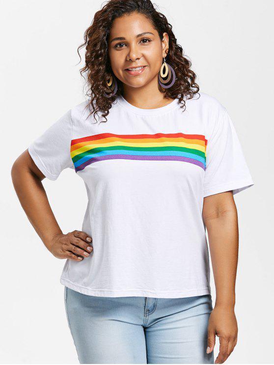 T-Shirt à Rayures Arc-En-Ciel Grande-Taille - Blanc 2X