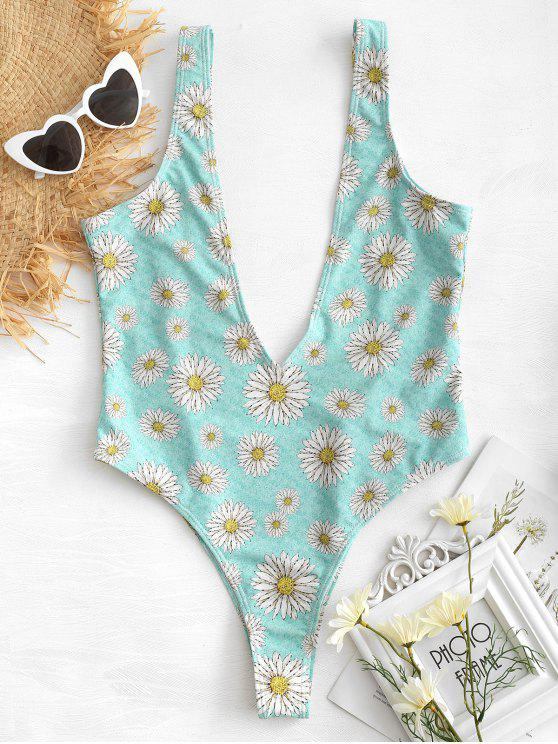 new Daisy Plunging Bralette Swimsuit - BLUE GREEN M