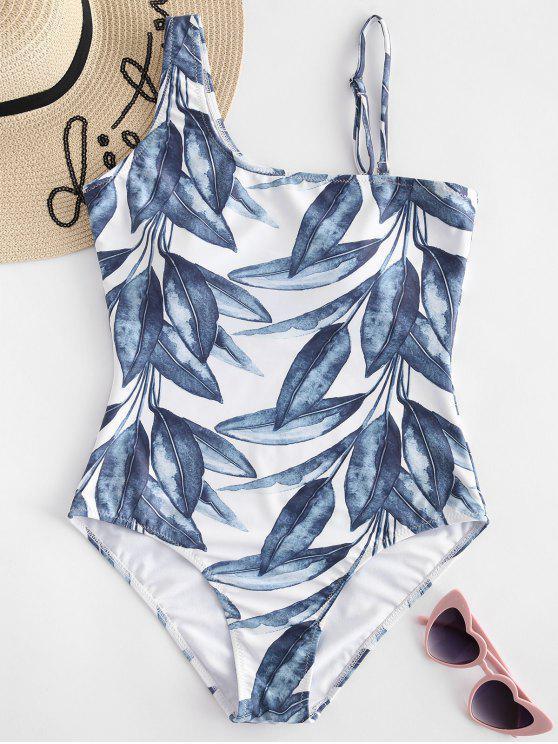 Costume Da Bagno A Vita Alta Con Stampa Foglie - Blu Verdastro M