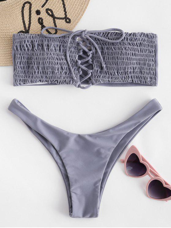Smocked Schnürung Bandeau Bikini - Jet Grau L