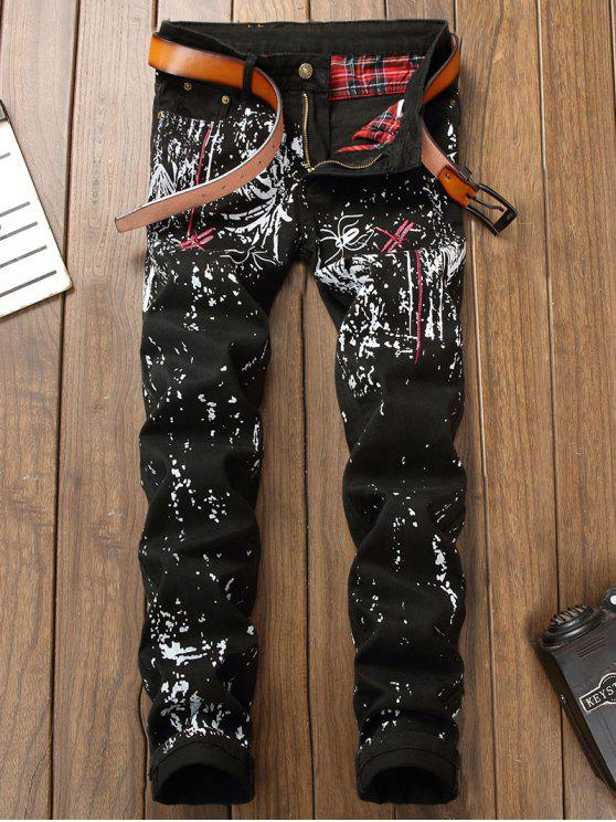 women's Dragonfly Embroidery Printed Jeans - BLACK 32