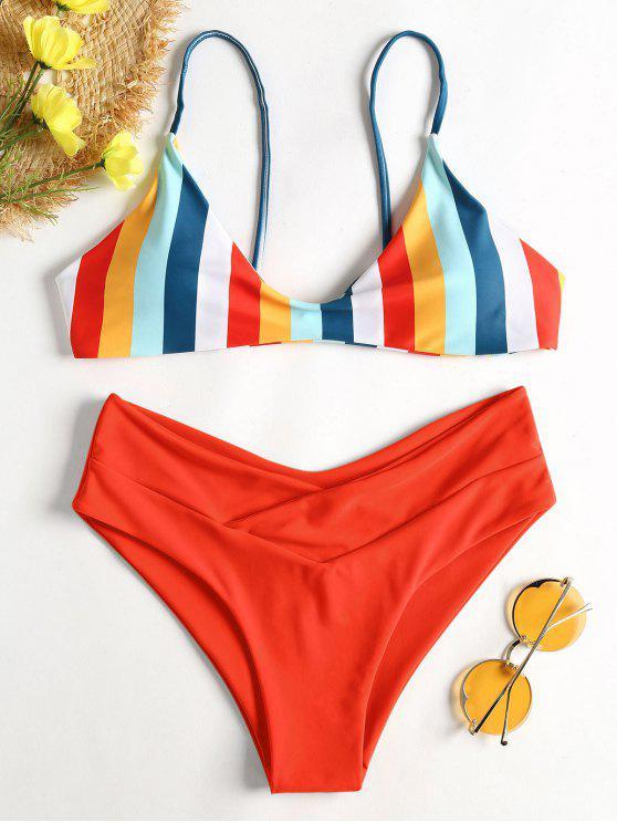 hot Striped High Leg Cami Bikini - RED M