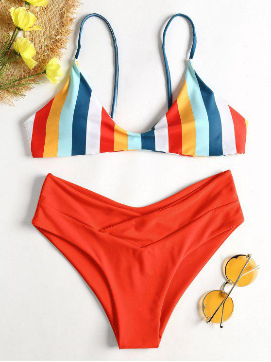 outfit Striped High Leg Cami Bikini - RED S