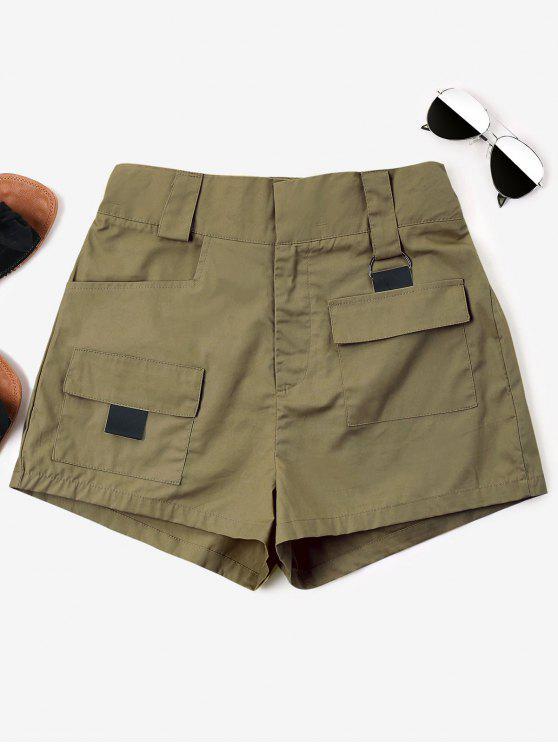 ارتفاع الخصر جيوب السراويل - كاكي L
