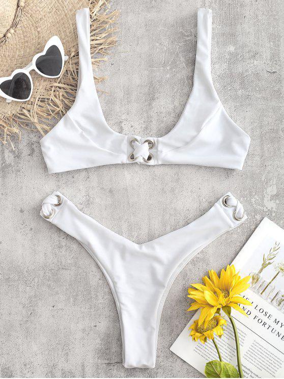 Kreuz Cheeky Bralette Bikini Set - Weiß L